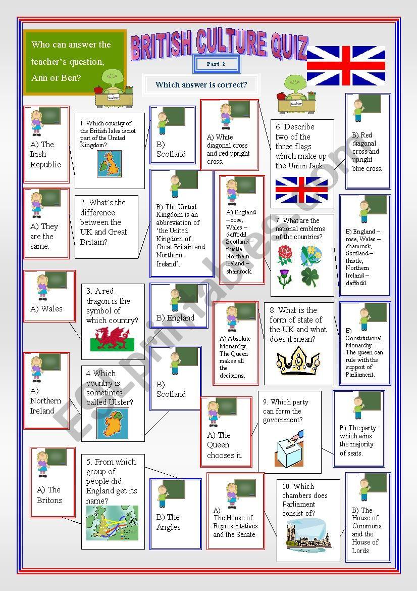 British Culture Quiz Part 2 worksheet