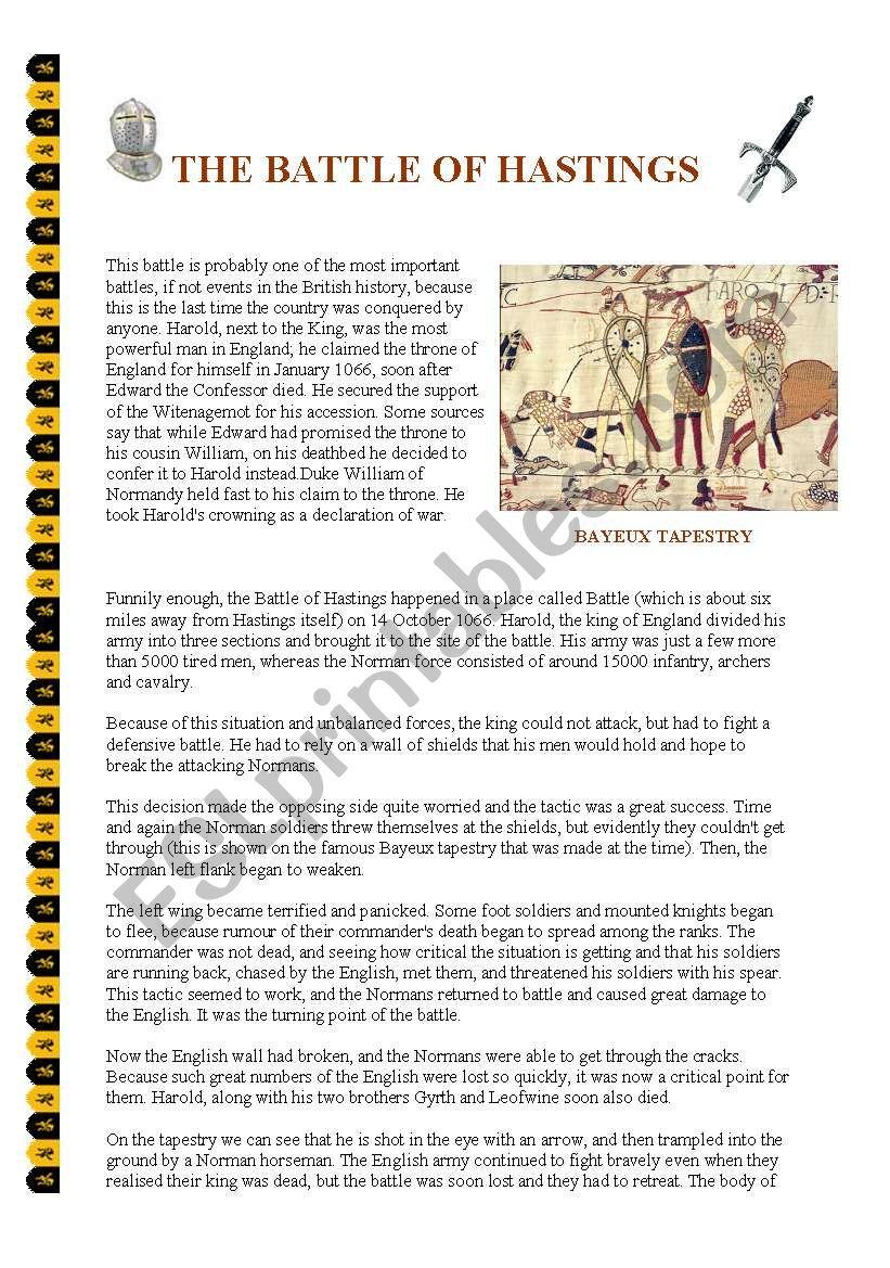 The Battle of Hastings worksheet