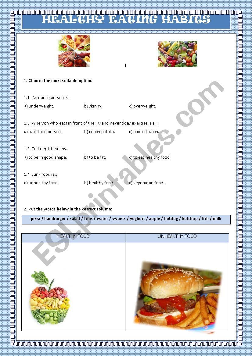 Teenagers and Eating Habits worksheet