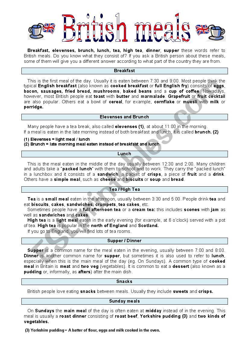 British meals worksheet