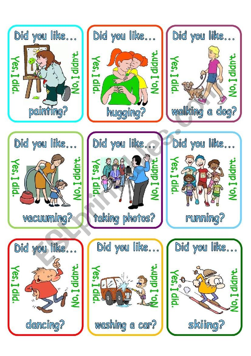 Go fish - Did you like + verb + ing? (2/3)