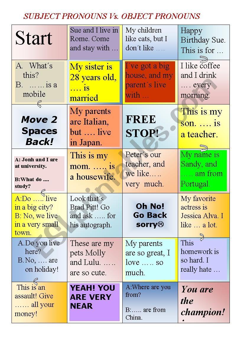Board game Subject Vs. Object Pronouns