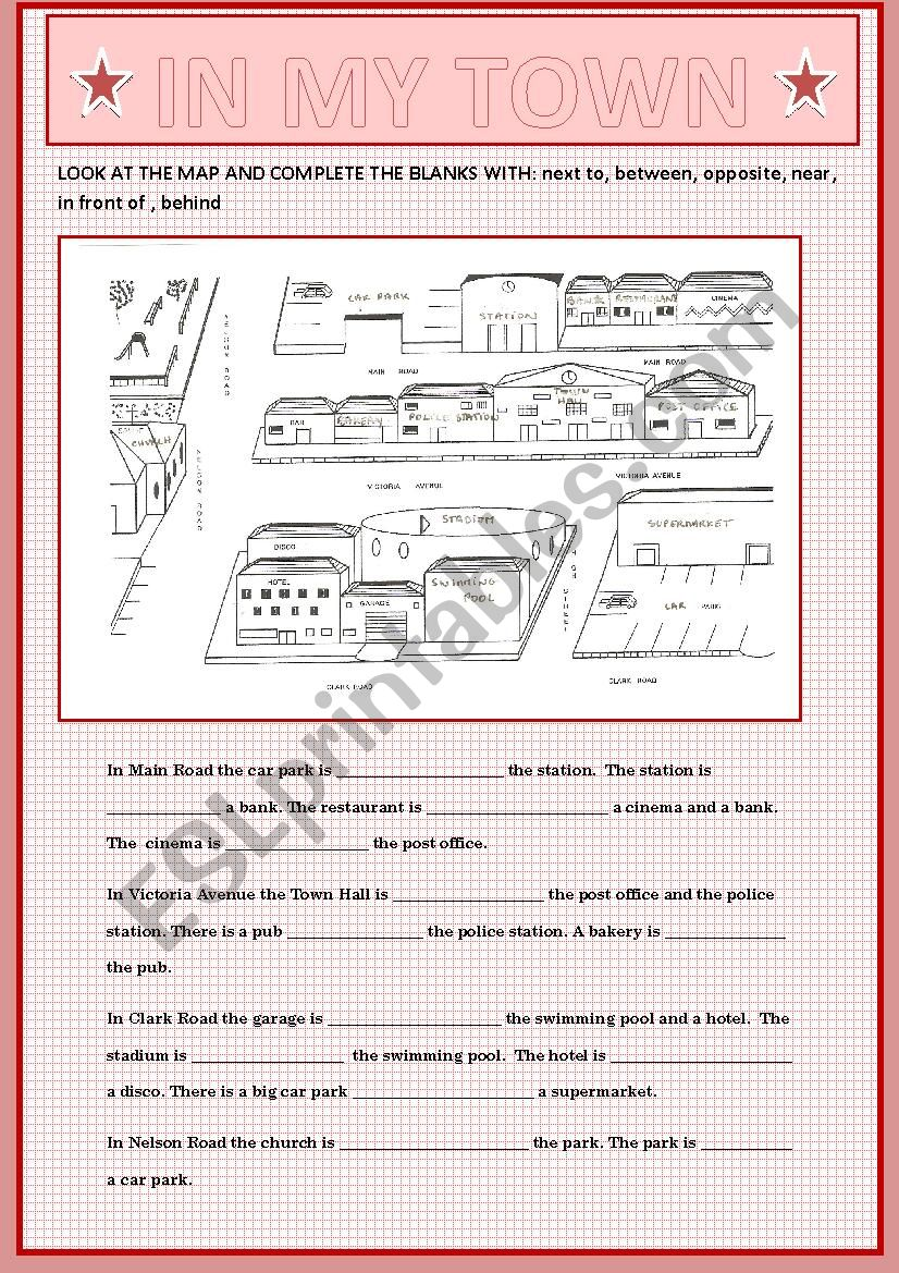 PREPOSITIONS OF PLACE TO DESCRIBE A TOWN CENTRE + KEY