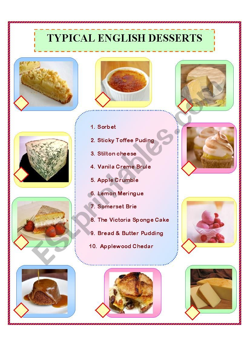 Typical English Desserts worksheet