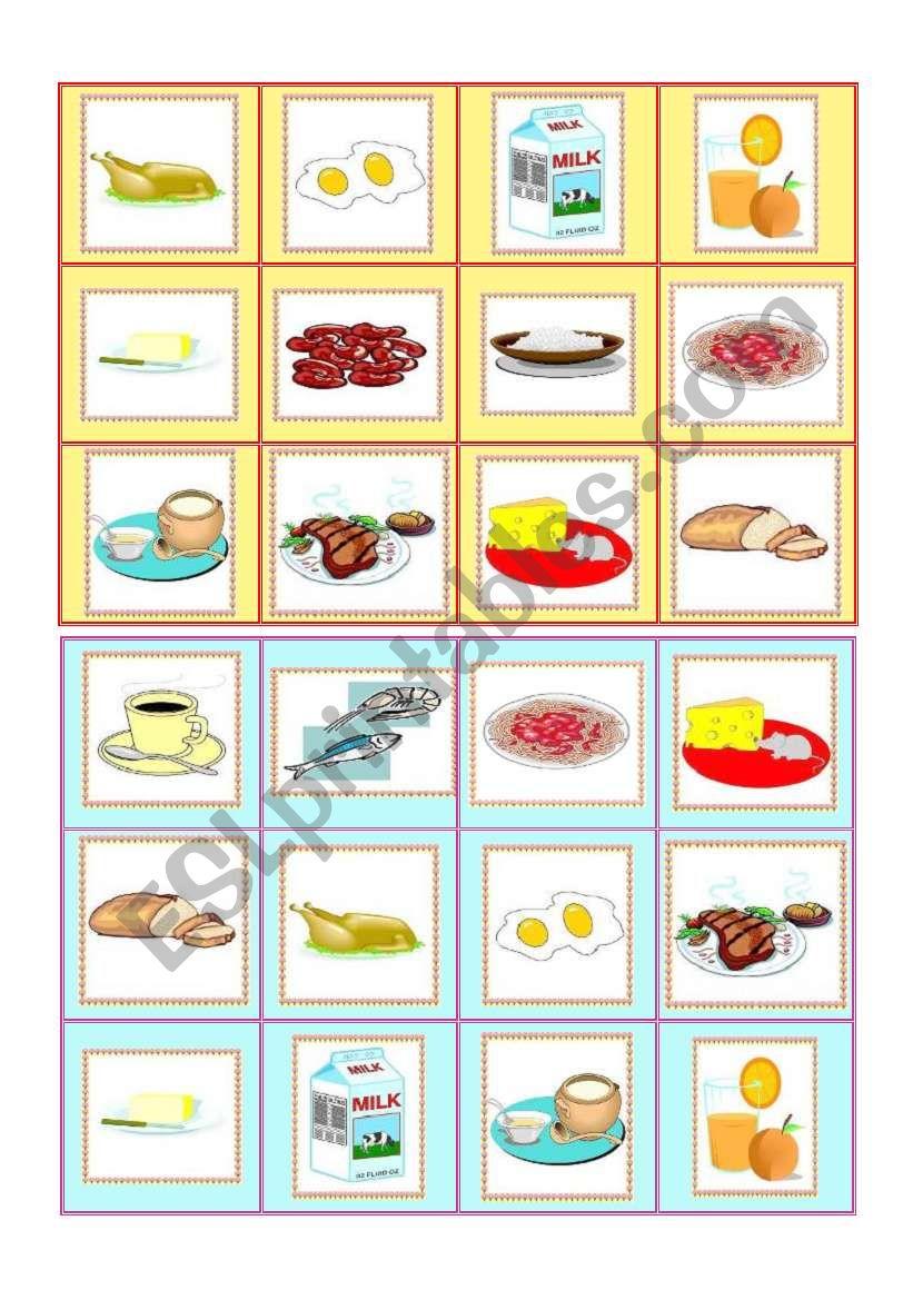 Everyday food - bingo cards part I