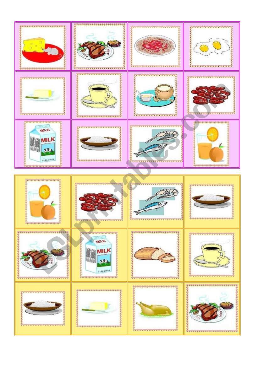 Everyday food - bingo cards part II