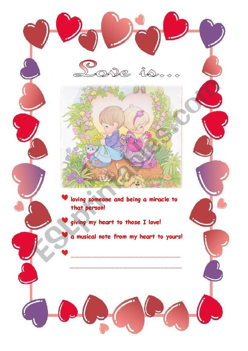 Love is... worksheet