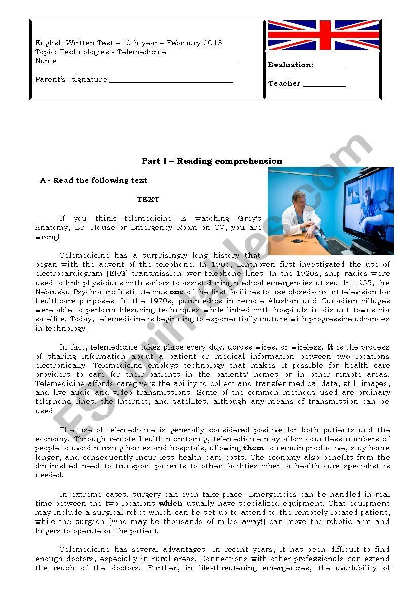 Technologies - TELEMEDICINE worksheet