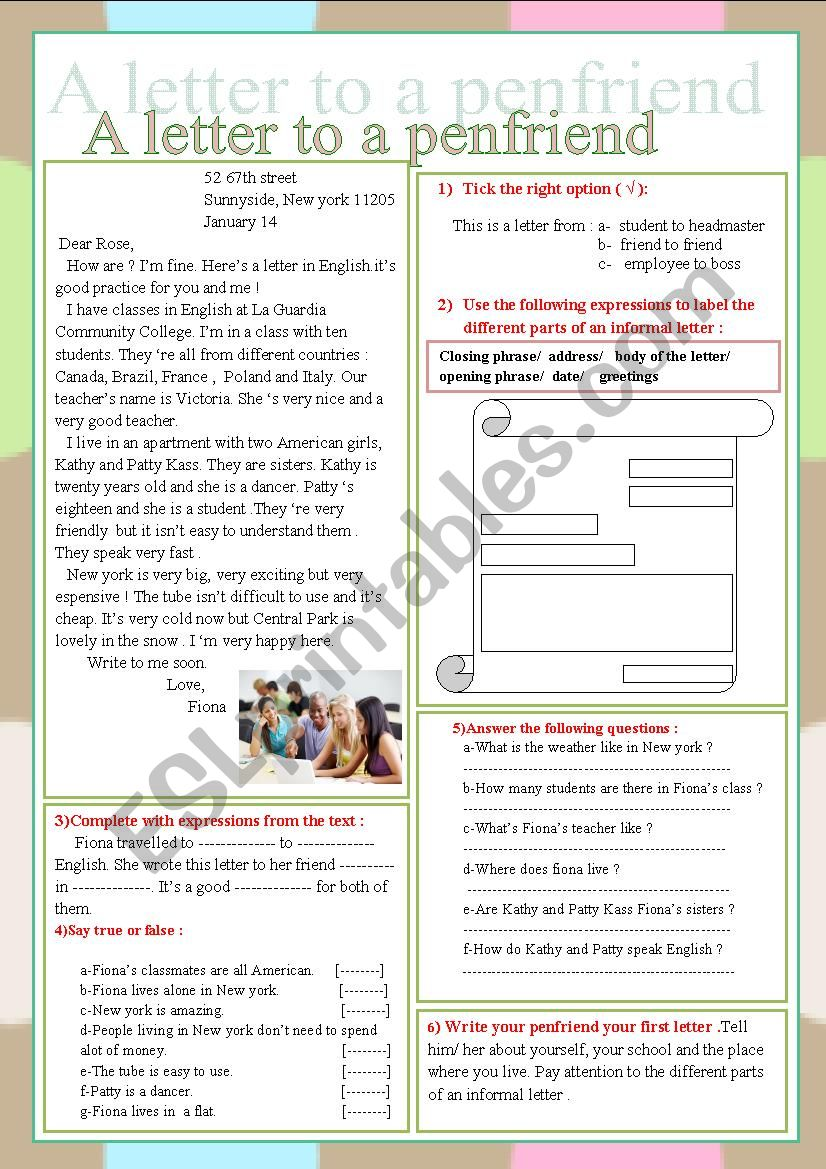 A letter to a penfriend  worksheet