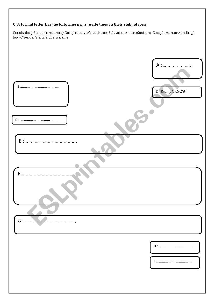the layout of a letter of complaint - ESL worksheet by neilabenhmida