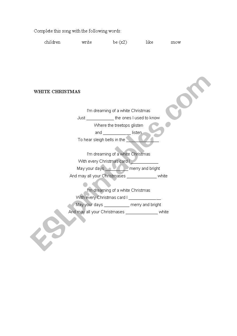 WHITE CHRISTMAS - ESL worksheet by jandro_876