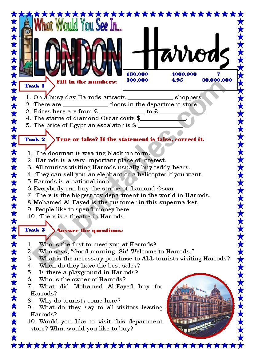 Harrods worksheet