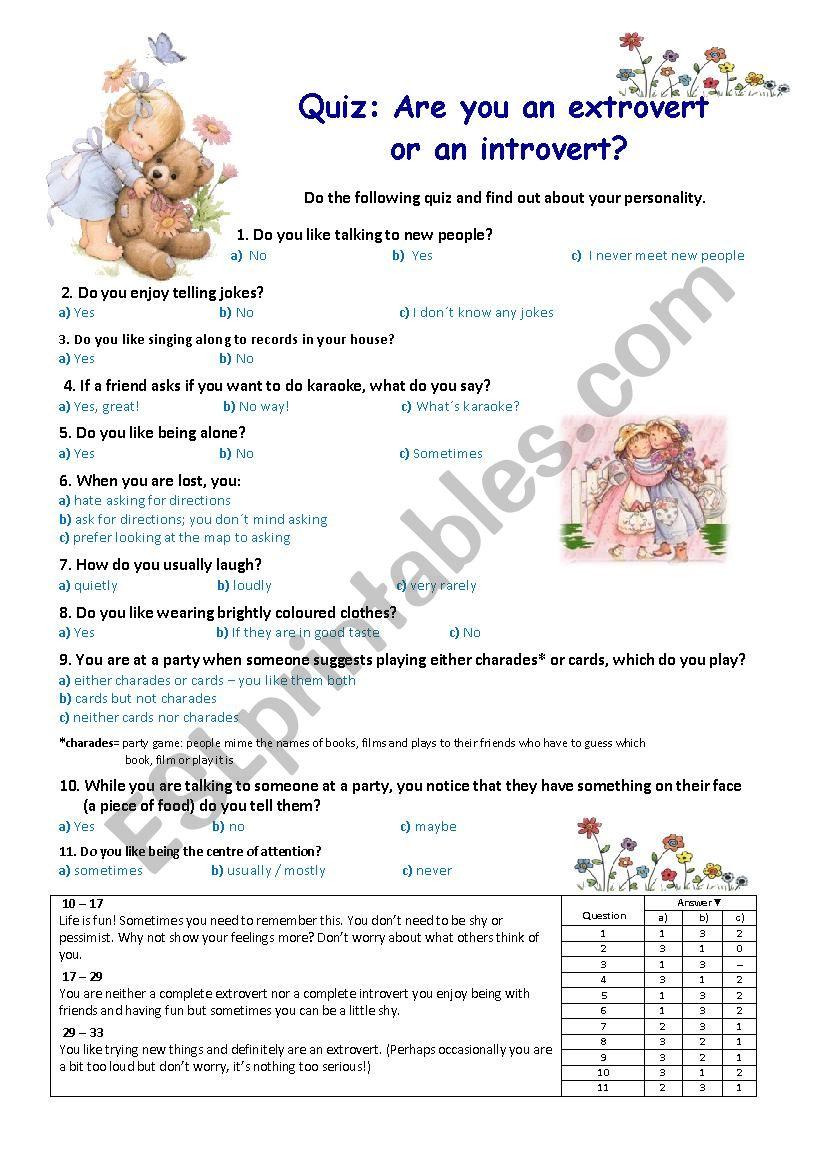 Quiz: extrovert or introvert? worksheet