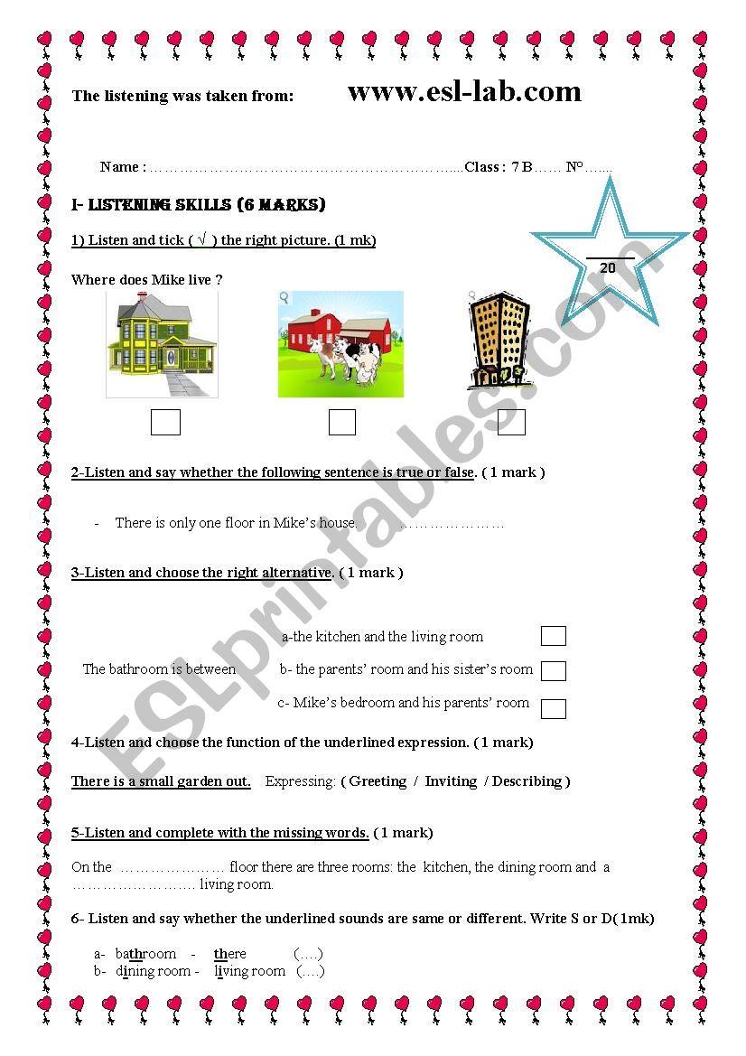 Mid-Term Test N°2 7th Form worksheet