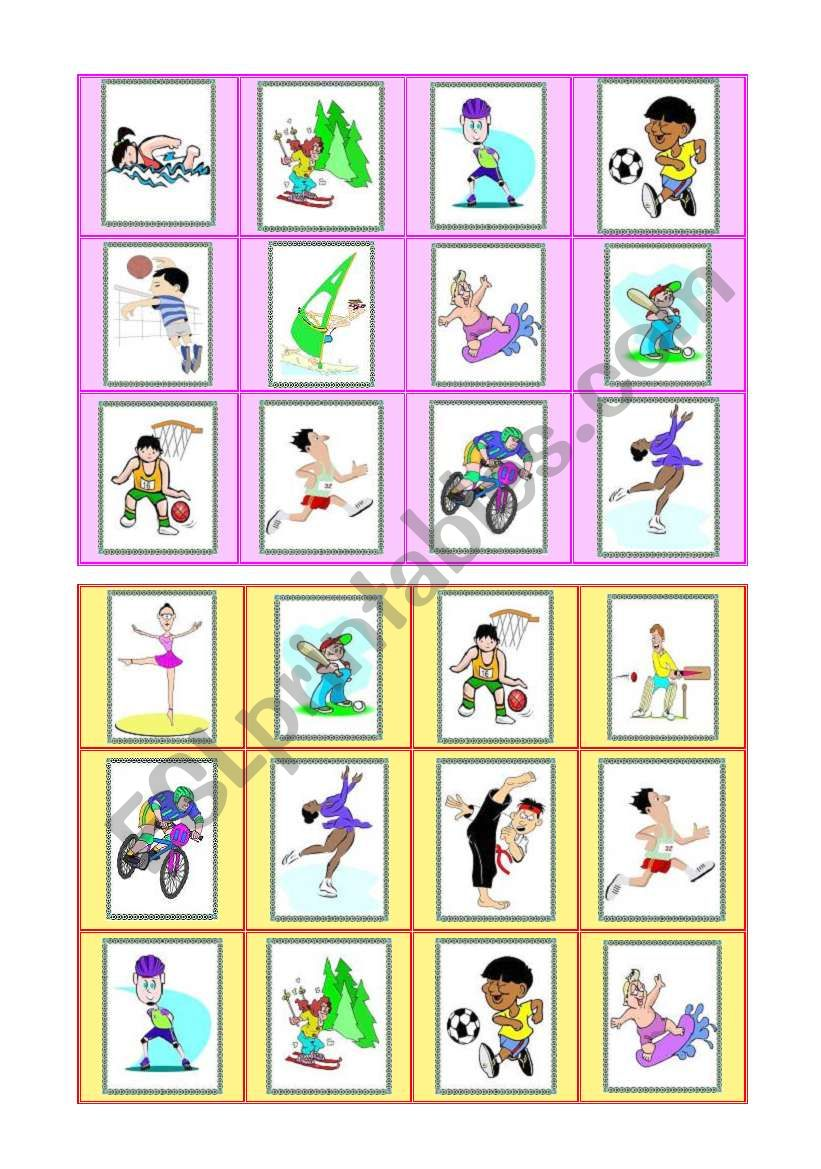 Sports - bingo cards - part III