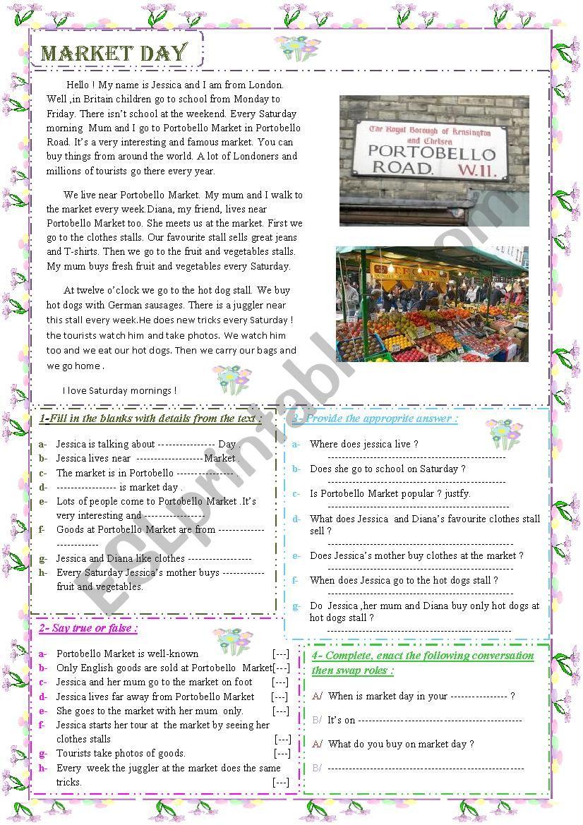 Market Day  worksheet