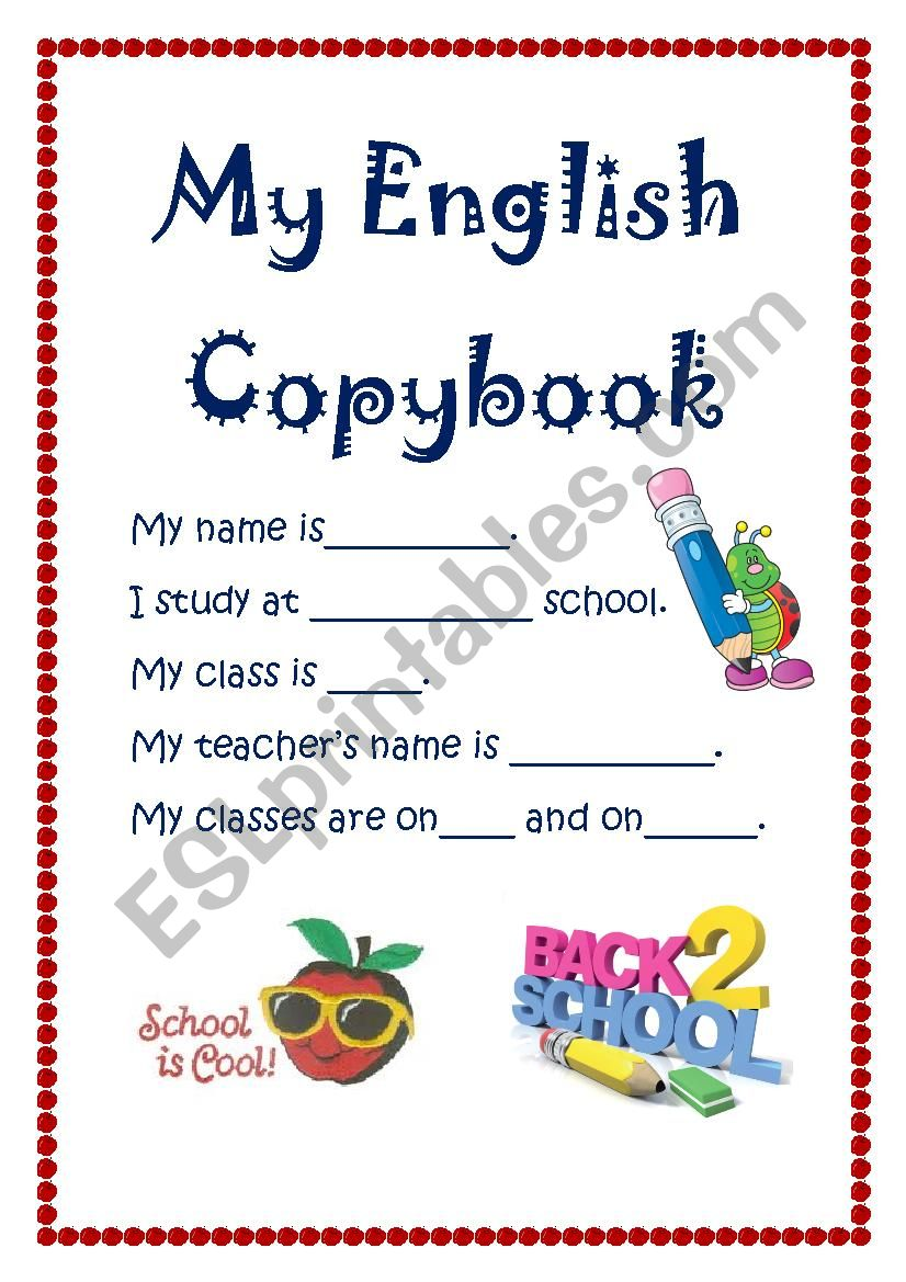 First Page for Student´s copybook.