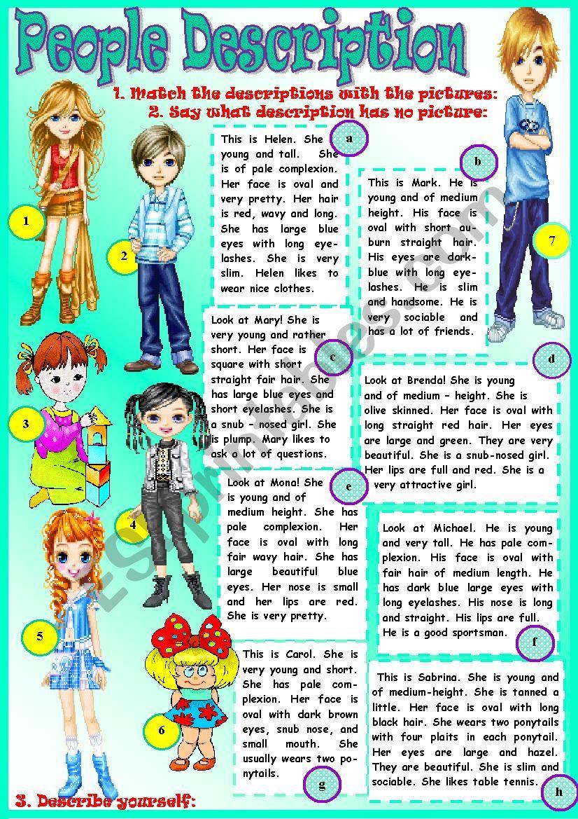 People Description - ESL worksheet by Tmk939