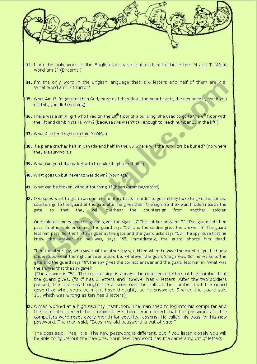 DO IT NOW! activities-riddles-language questions - ESL
