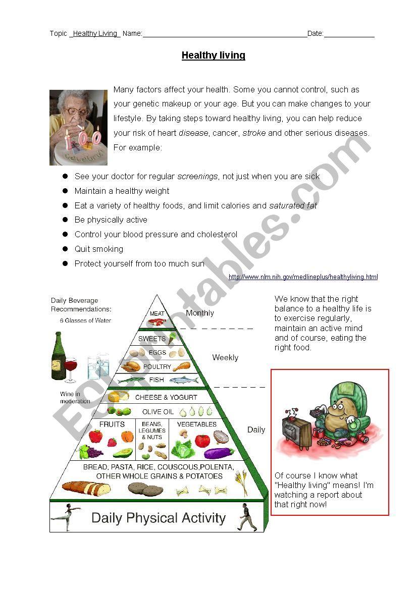 Oral Exam: Healthy Living worksheet