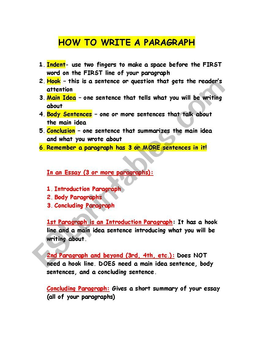 How To Write A Paragraph Esl Worksheet By Amaramarino