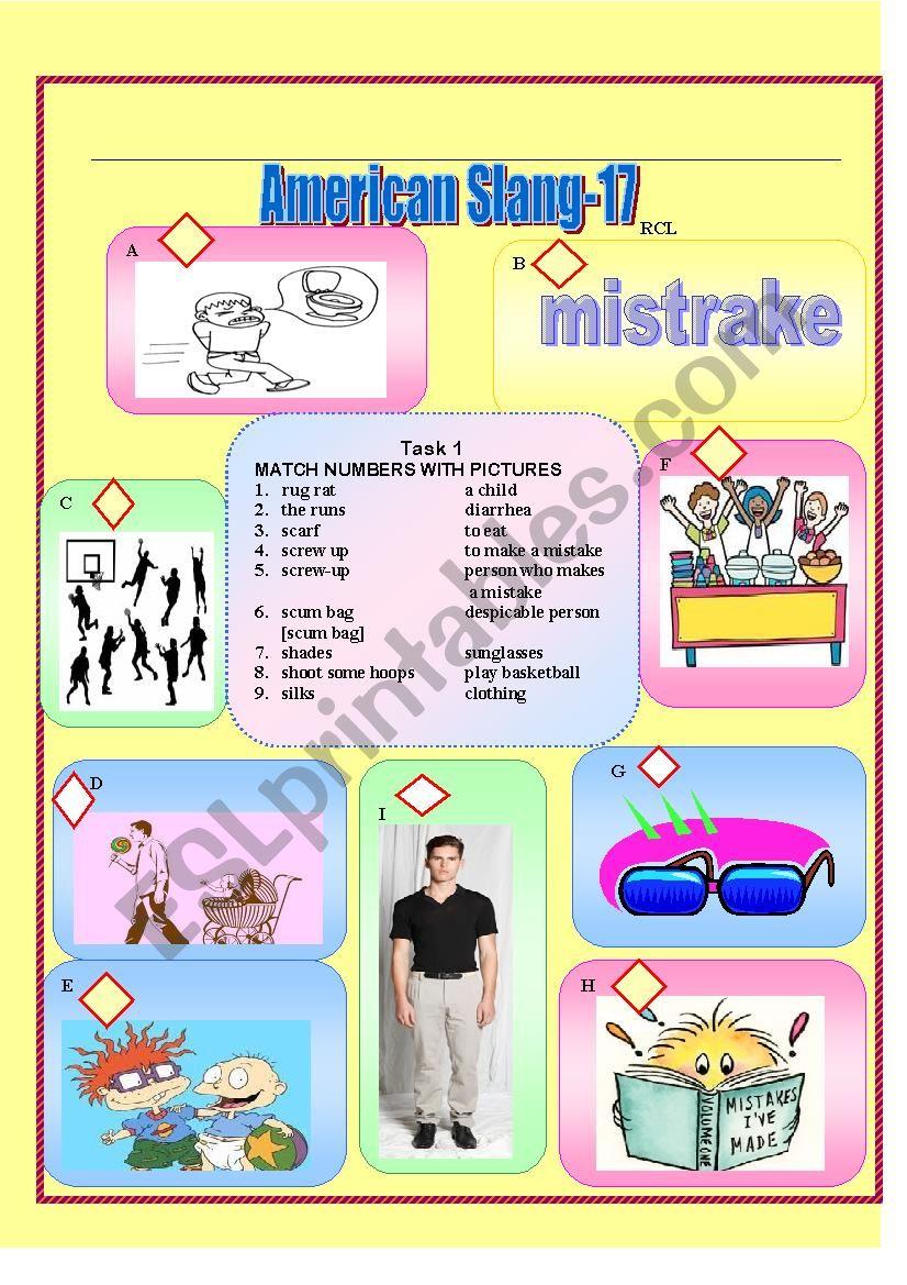 American Slang 17 Esl Worksheet By