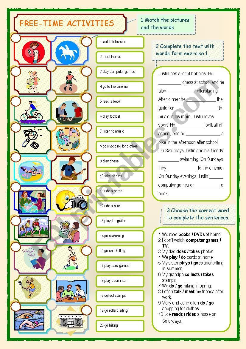 Free-time Activities worksheet