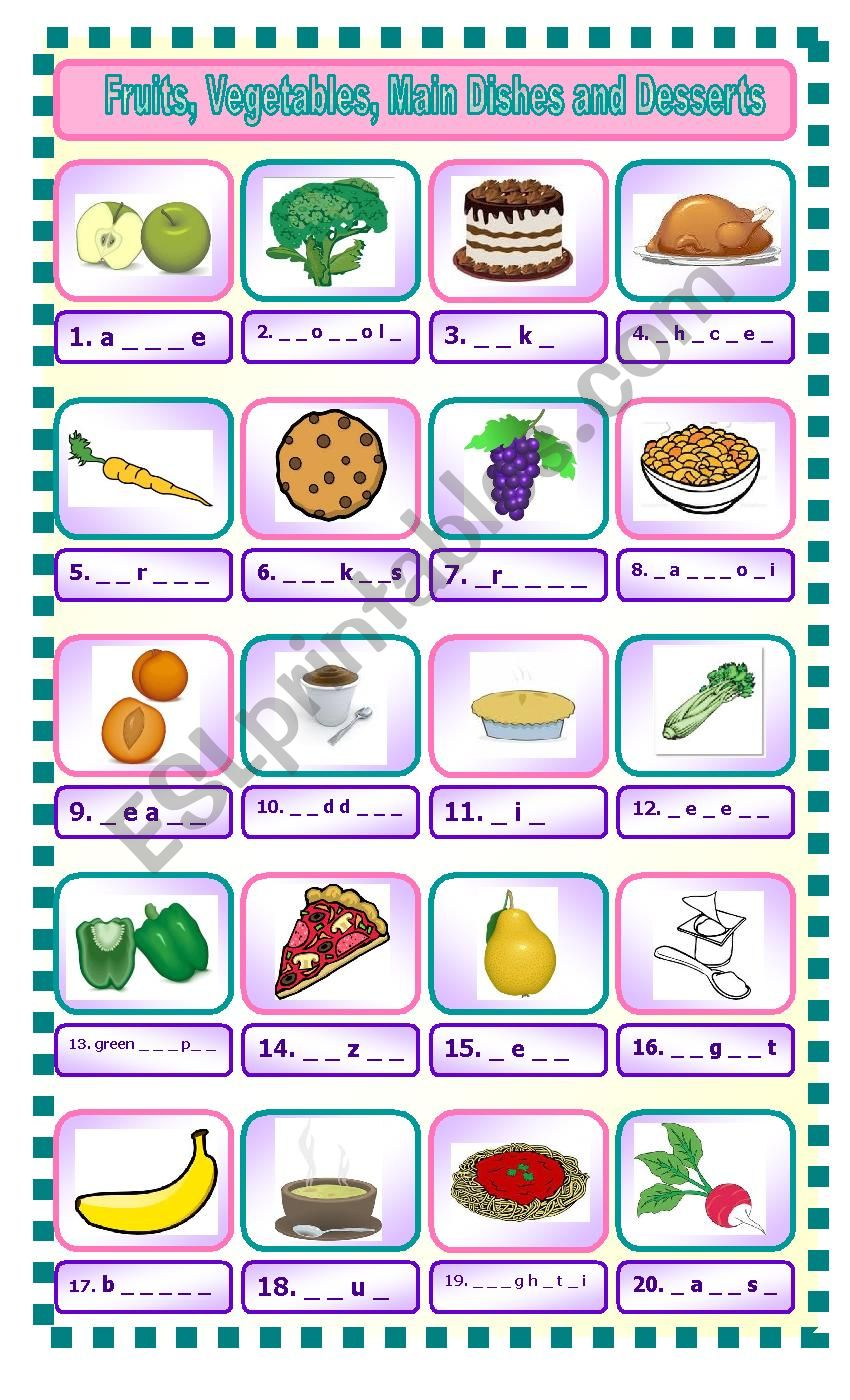 Fruits, Vegetables, Main Dishes and Desserts