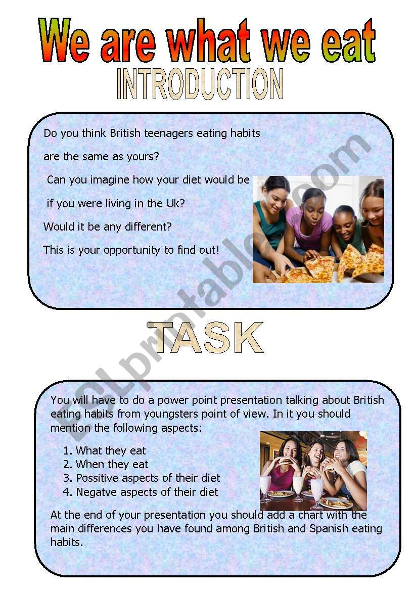 We are what we eat worksheet