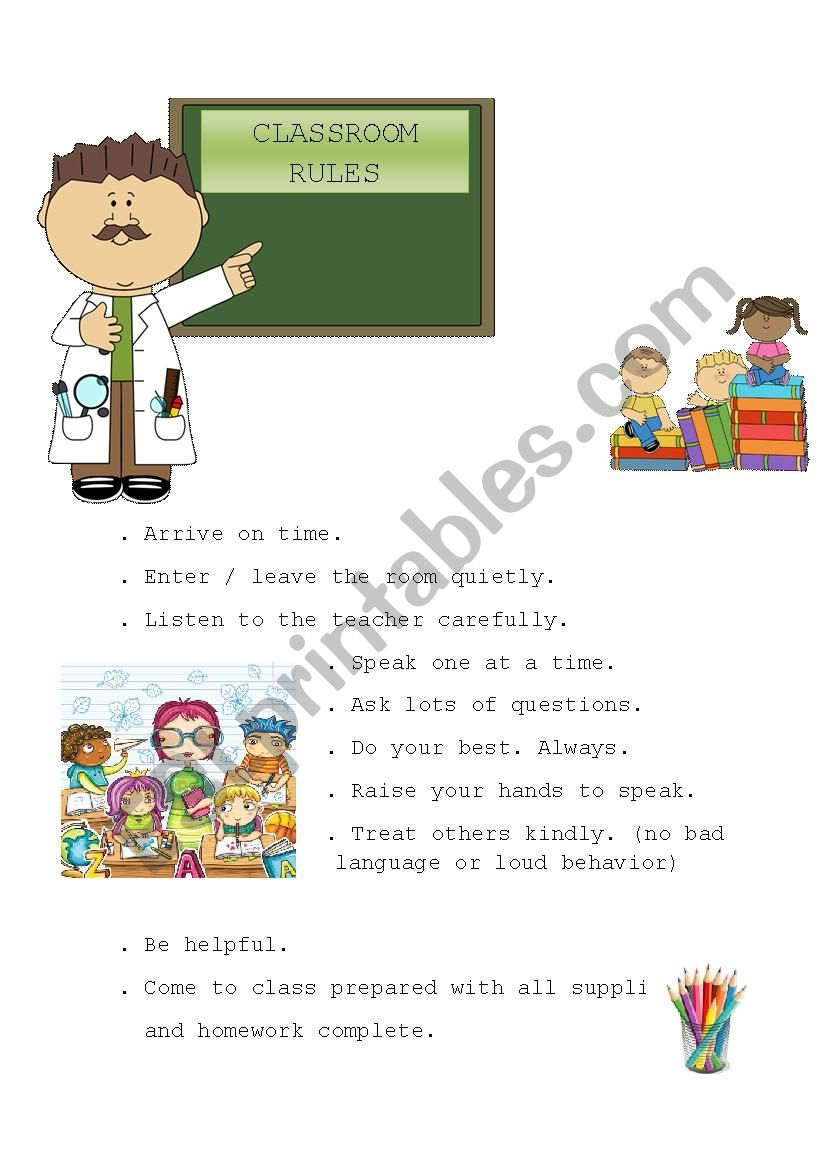 Classroom Rules worksheet