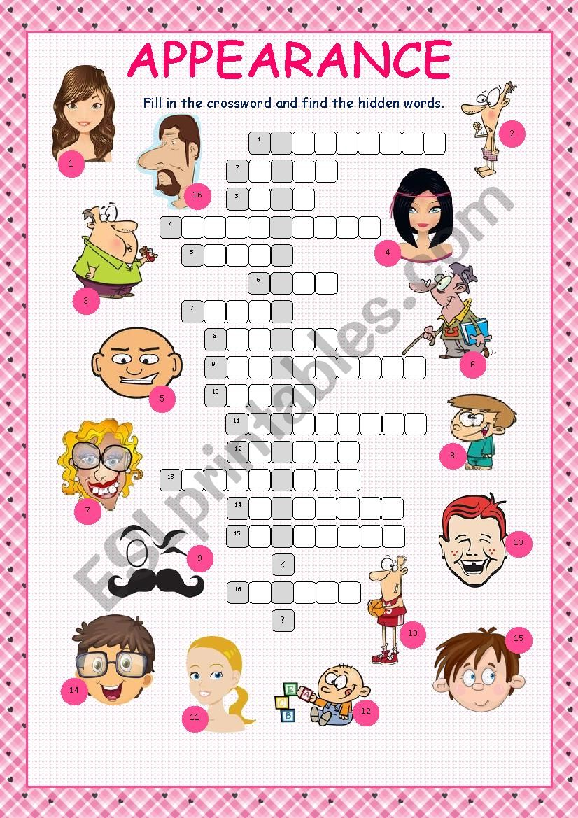 Appearance Crossword Puzzle worksheet