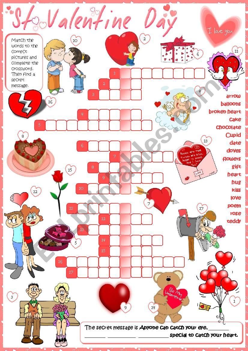 picture regarding Valentine Crossword Puzzles Printable identify St Valentine´s Working day - crossword - ESL worksheet by way of mada_1
