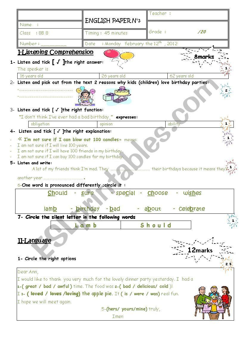 mid term test 2 8th form worksheet