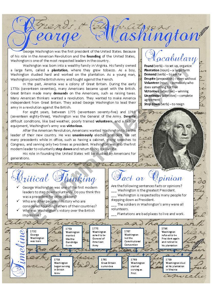 Presidents Day George Washington Reading Esl Worksheet By Mvblair