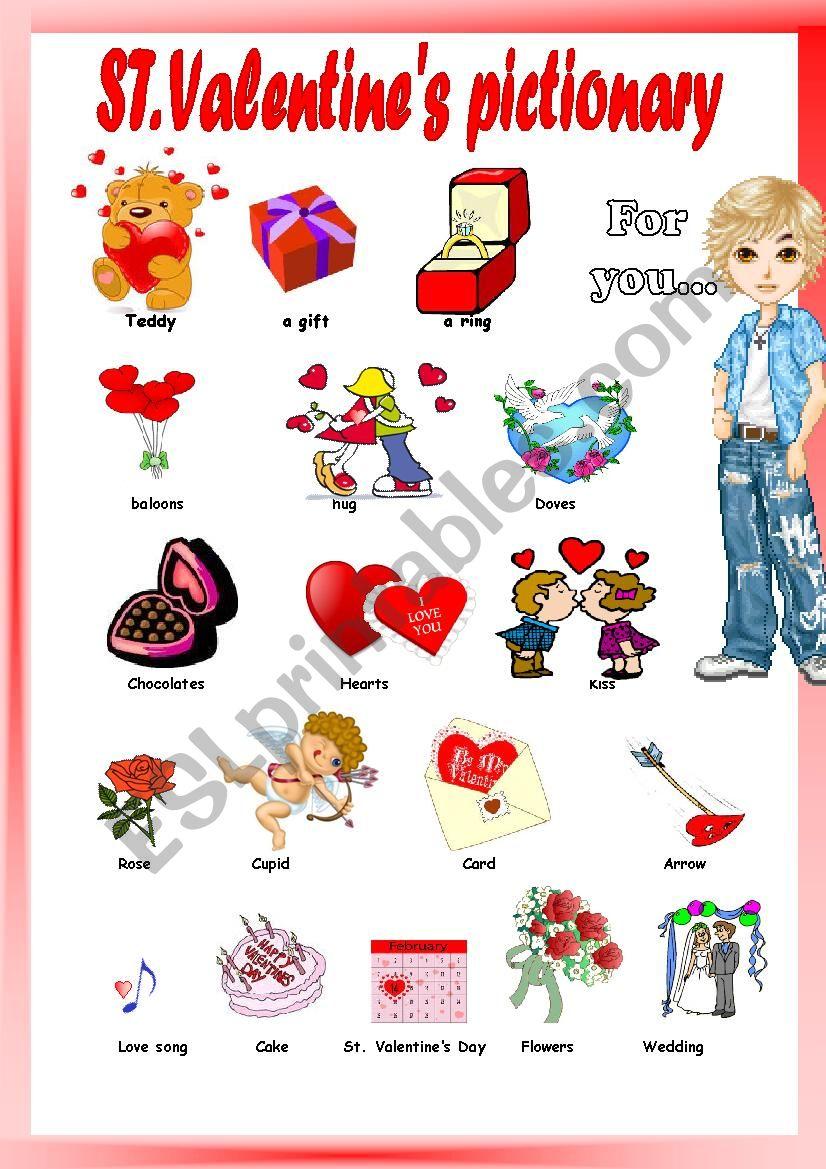 Valentine´s Pictionary worksheet