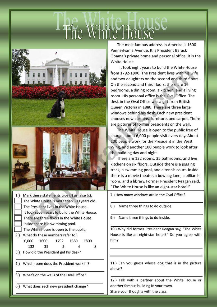 White House Reading Prehension Practice Exercises ESL