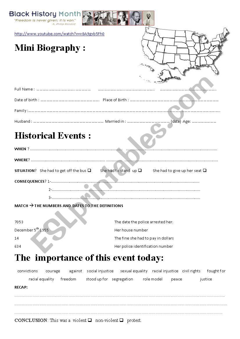 Rosa parks black history month esl worksheet by aurore rosa parks black history month ibookread Download