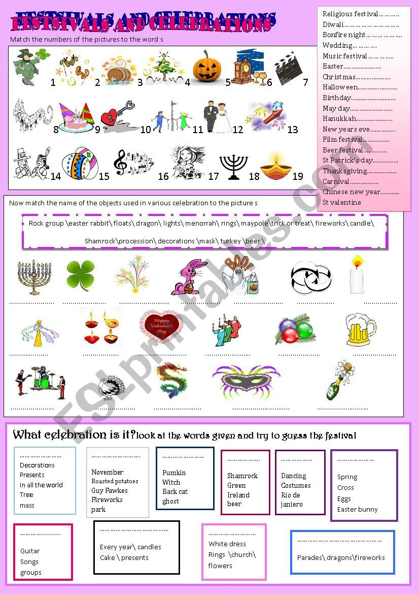 festivals and celebrations worksheet