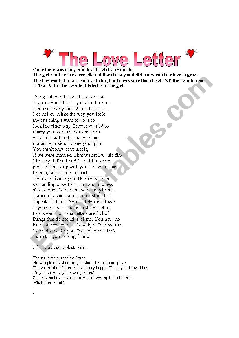 The Love Letter worksheet