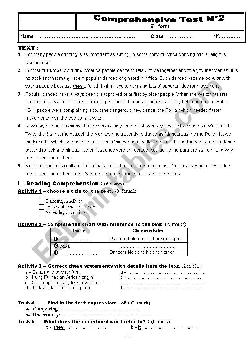 Full term test n°2 9th form worksheet