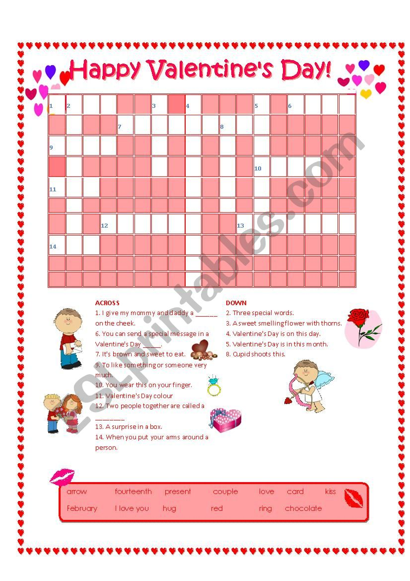 Valentine´s Day Crossword worksheet