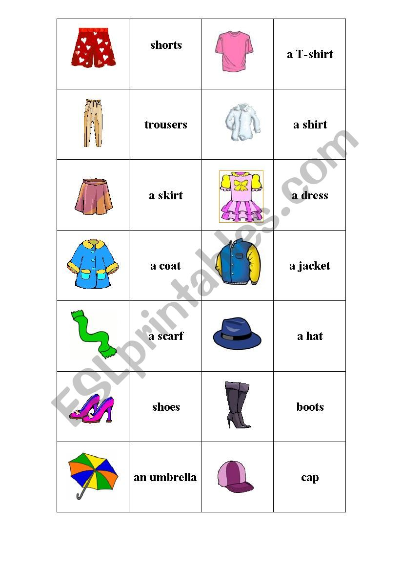 Clothes. Memory game. worksheet