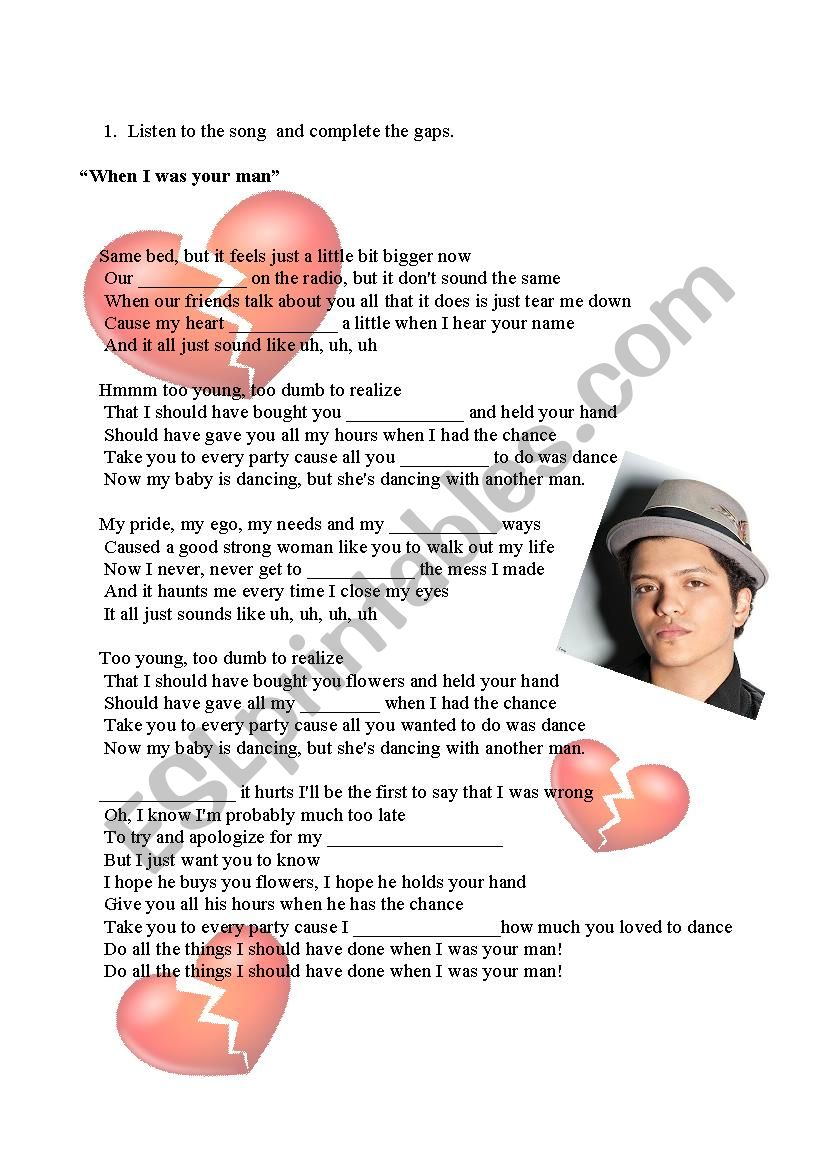 When I was your man - Bruno Mars Song
