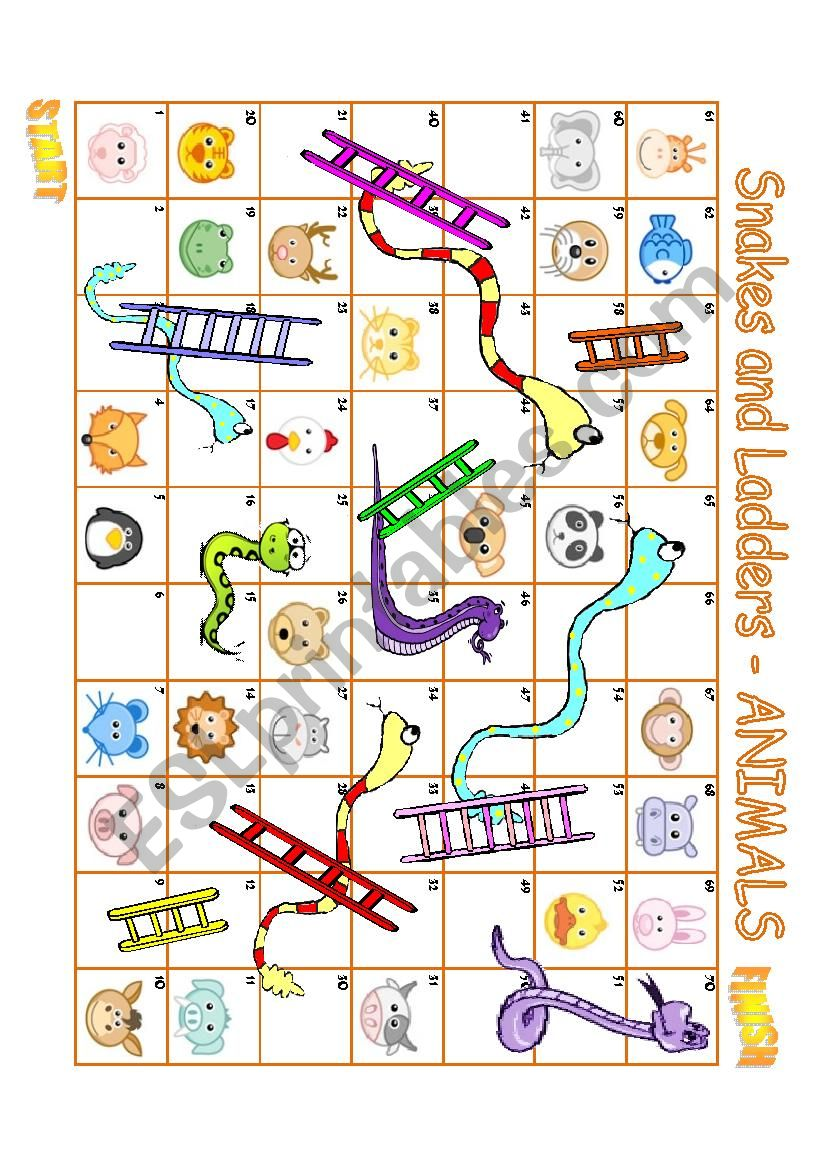 SNAKES AND LADDERS - ANIMALS worksheet