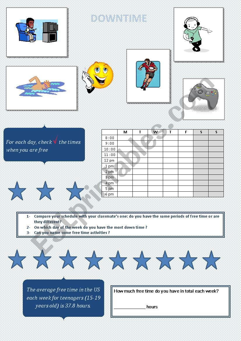DOWN TIME worksheet
