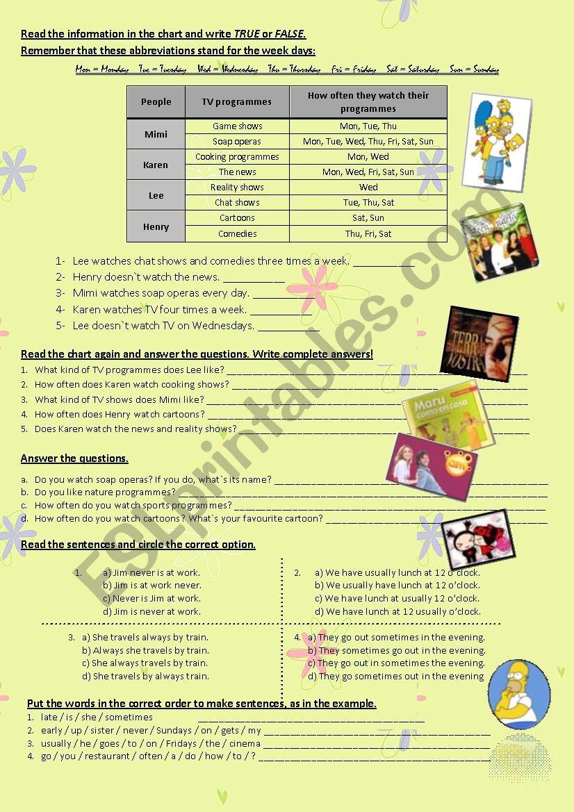 tv programs worksheet