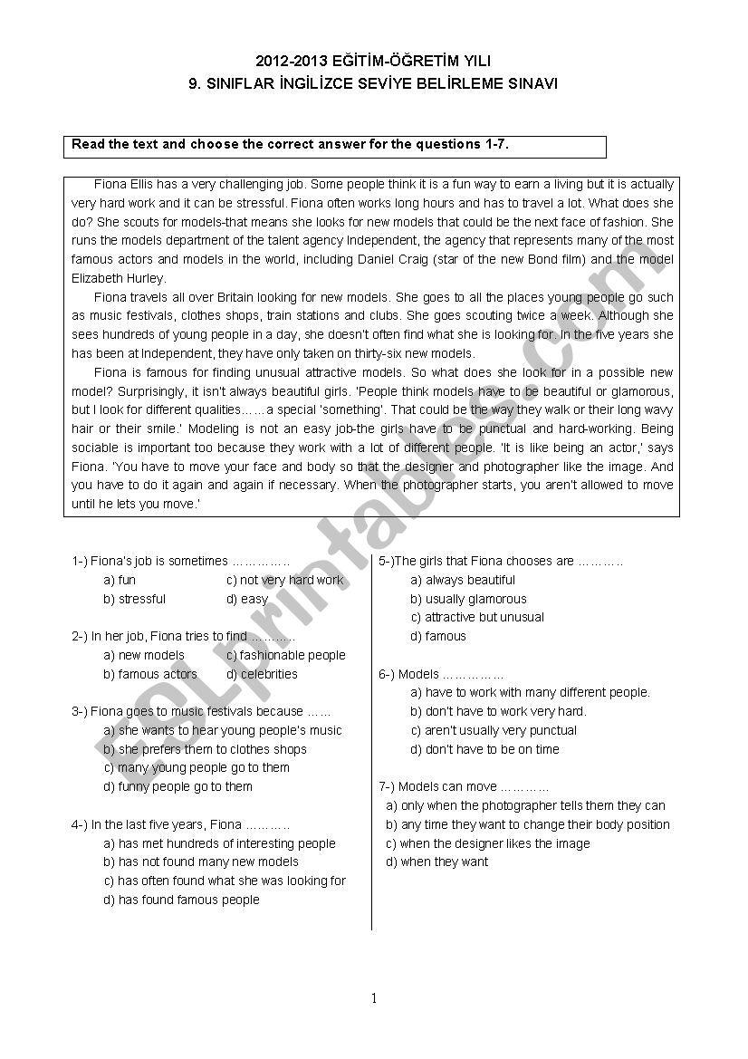 PLACEMENT TEST PART 1 worksheet