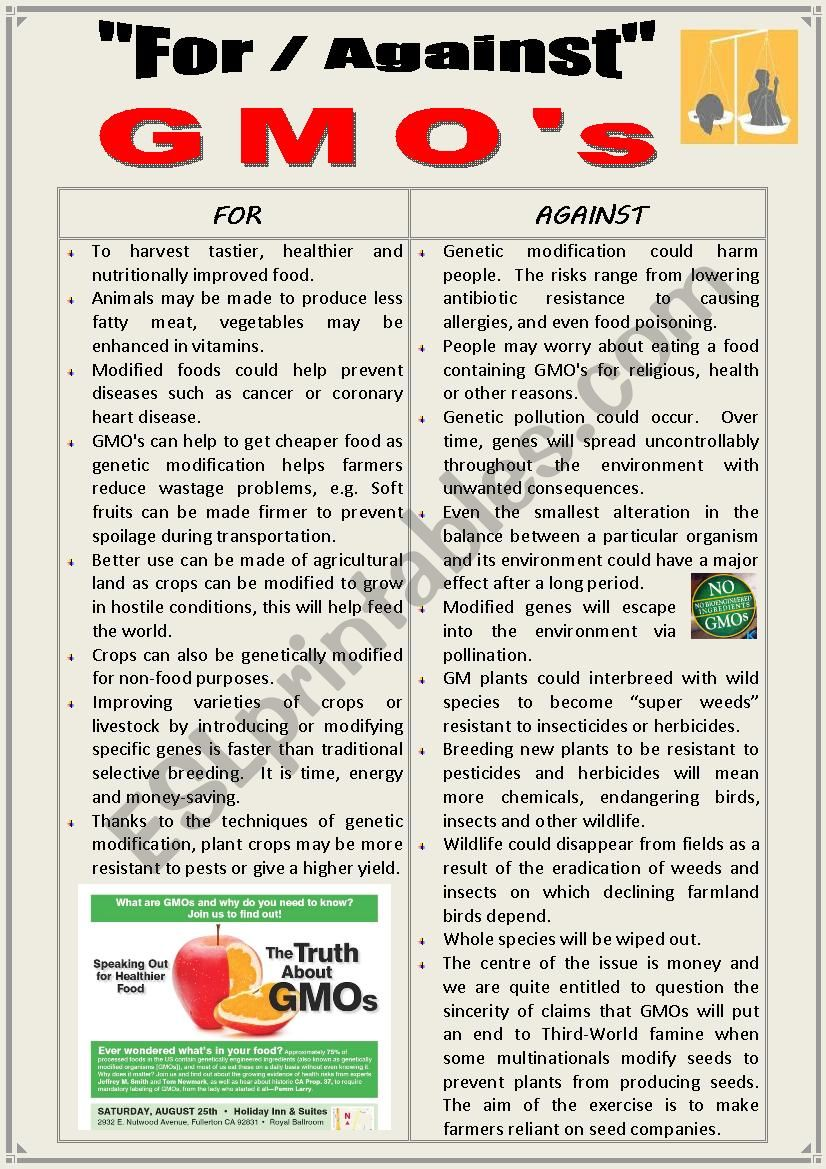 FOR or AGAINST  GMO´s (Debating)