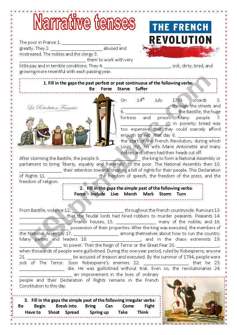 Narrative Tenses And The French Revolution Esl Worksheet