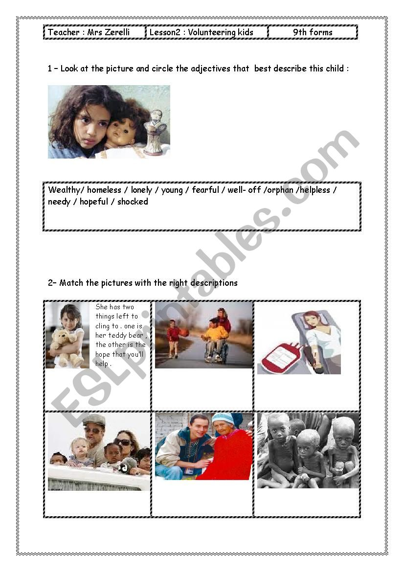 lesson 2 Module 6 Volunteering kids